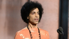 Prince, seen here speaking during the Grammys, will perform May 9 in Baltimore.